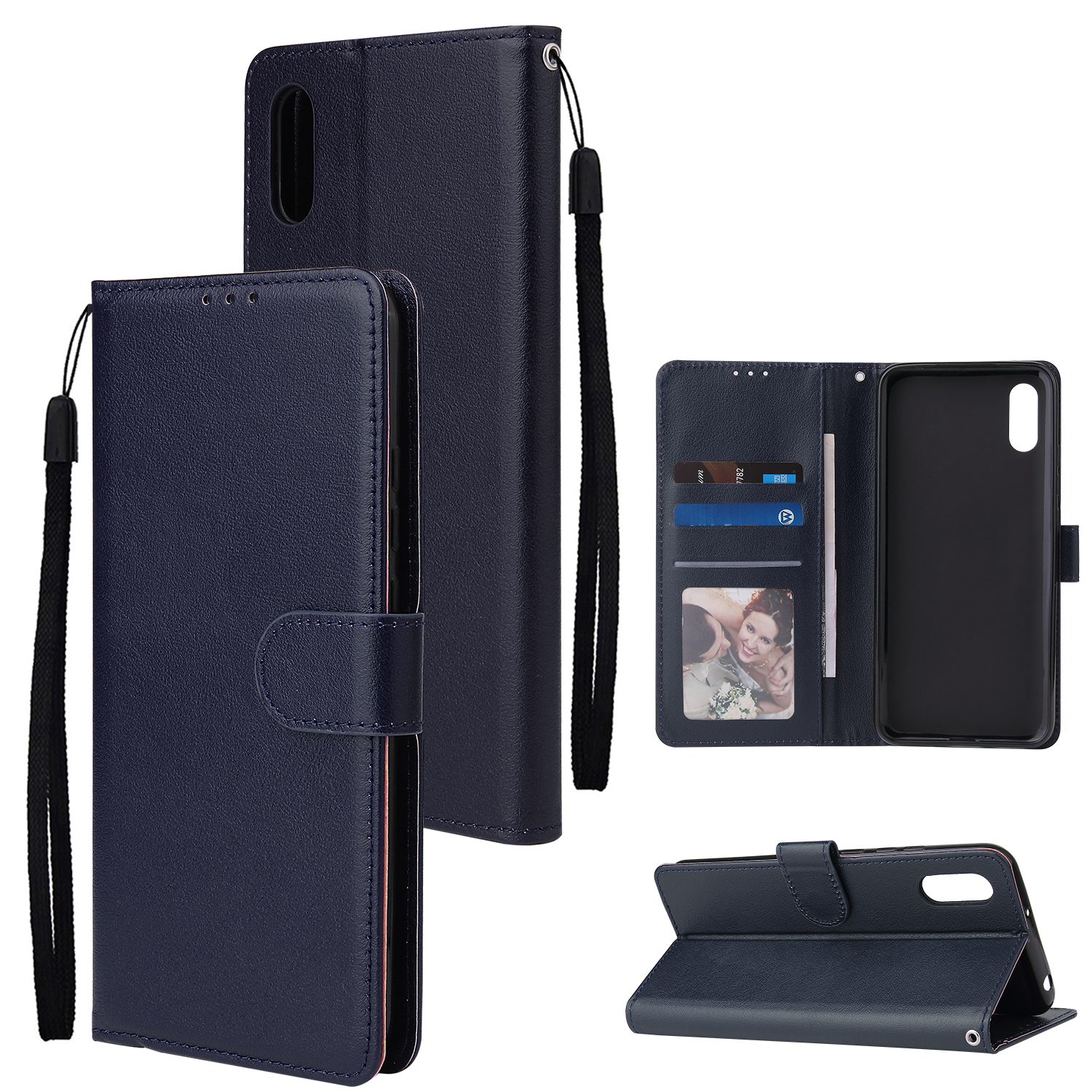 For Redmi 9A/Redmi 9C PU Leather Mobile Phone Cover with 3 Cards Slots Phone Frame blue