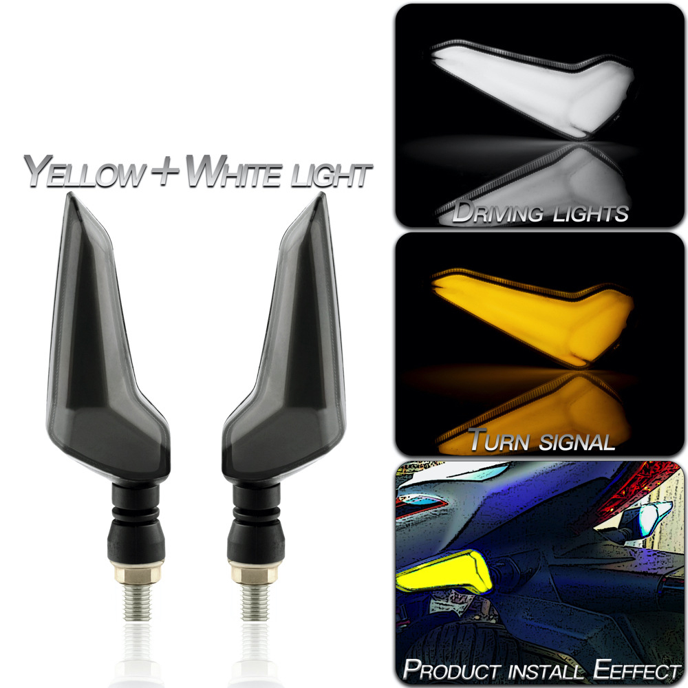 1 Pair Motorcycle Accessories Modified L-shaped Light-guiding Dual-color Led Turn  Signal Lights Yellow + white light