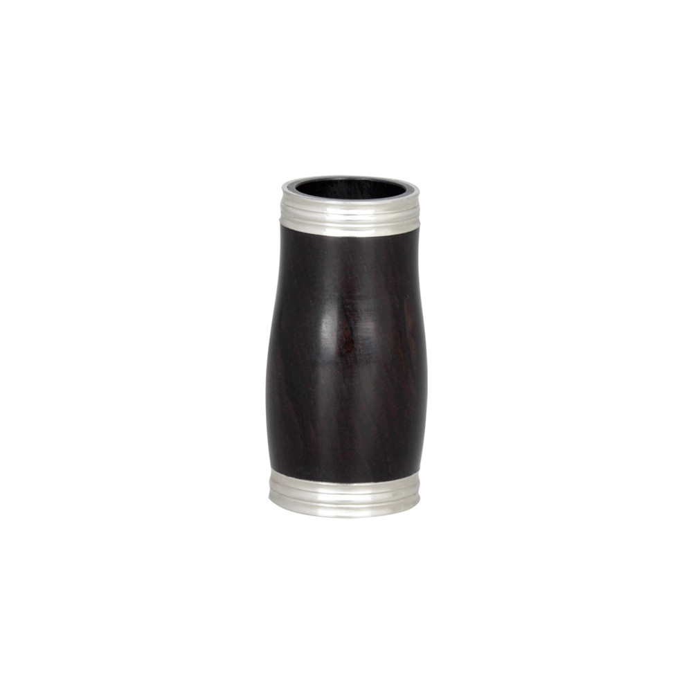 Ebony Clarinet Barrel Buffet with Metal Ring(Not Including Clarinet) Black + silver side