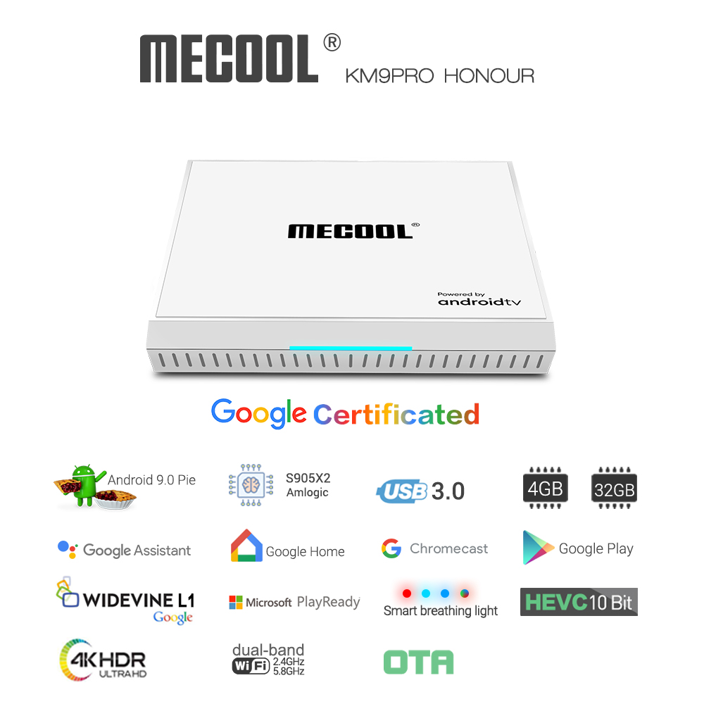 MECOOL KM9 Pro Honour TV Box Google Certificated Voice Control with 4GB RAM+32GB ROM Support for Google Cast and 4K HDR white_US Plug