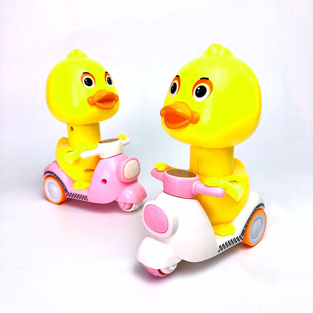 Cute Cartoon Pull Back Pressing Small Yellow Duck Motor Tricycle Toy for Kids Pink little yellow duck