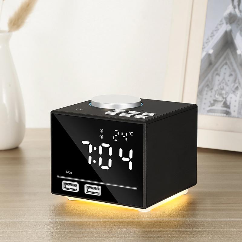 Smart Alarm Clock Bluetooth Speaker with LED Bedside Light Snooze Function Dual USB Port black_100 * 80 * 45