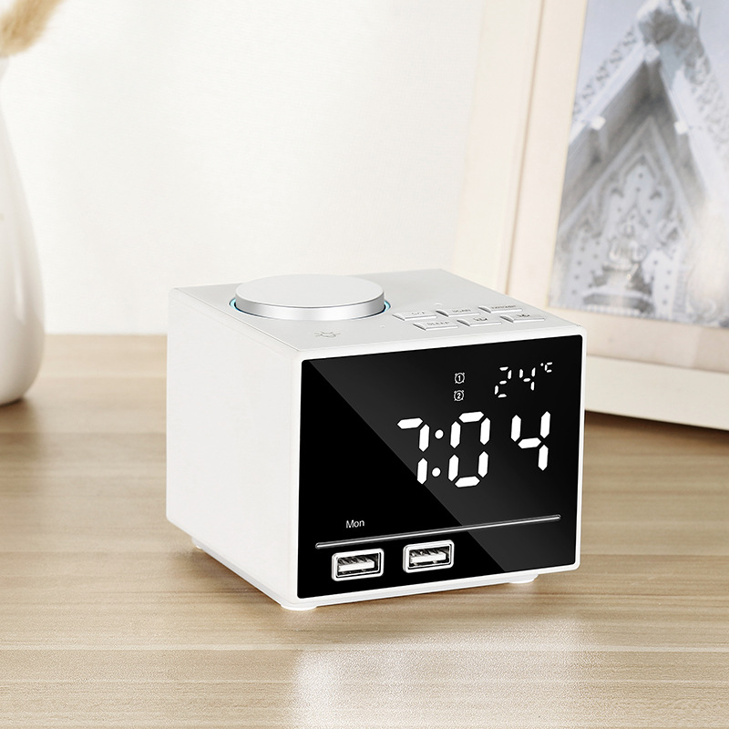 Smart Alarm Clock Bluetooth Speaker with LED Bedside Light Snooze Function Dual USB Port white_100 * 80 * 45