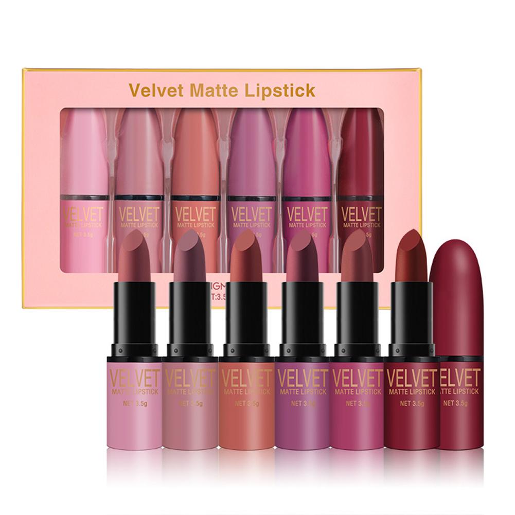 6-color  Lipstick  Set Matte Long Lasting Waterproof Non-stick Cup Lipstick 6 color lipsticks