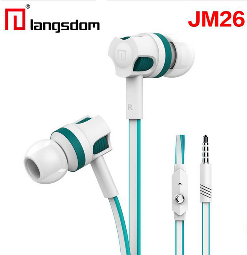 Langsdom JM26 Headphone 3.5mm Wired Earphone Noise Reduction in-ear Earphone Headset with Mic for Mobile Phone white