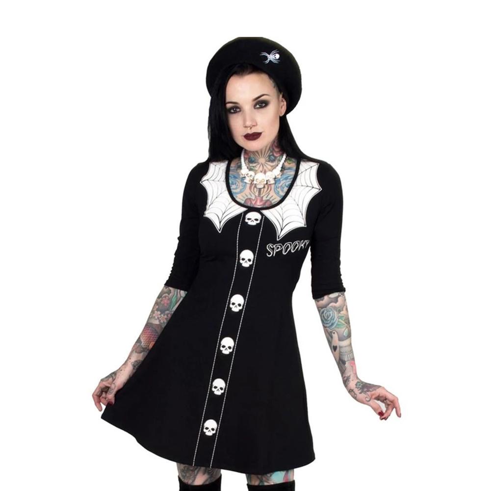 Halloween Long Sleeve Dress Skull Spider Net Round Collar Cosplay Party Costume black_L