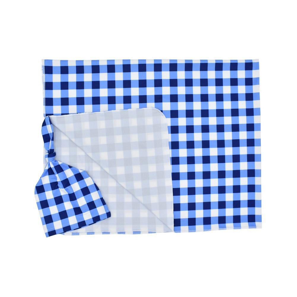 2Pcs/Set Newborn Plaid Printing Swaddle Blanket with Beanie Set Soft Stretchy Towel for Baby Boys Girls Royal blue plaid_80*100cm