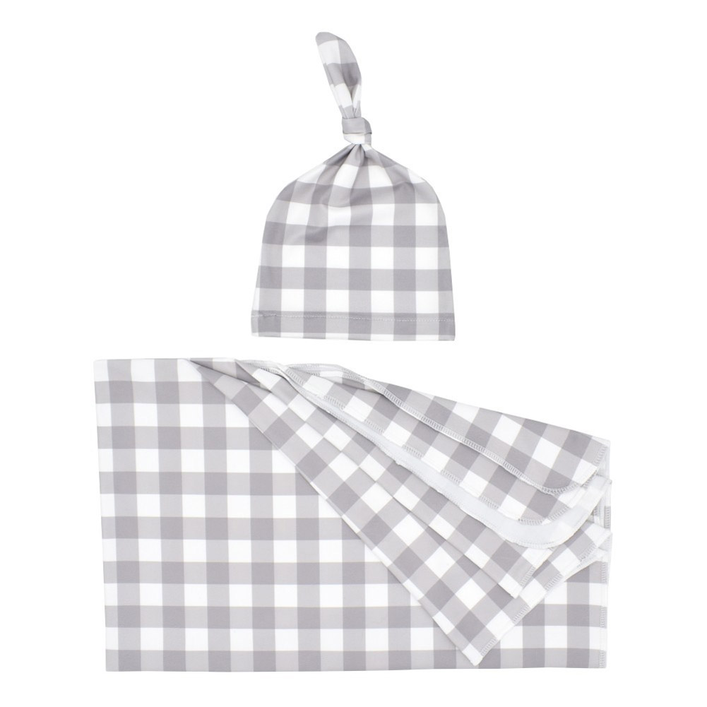 2Pcs/Set Newborn Plaid Printing Swaddle Blanket with Beanie Set Soft Stretchy Towel for Baby Boys Girls Grey plaid_80*100cm