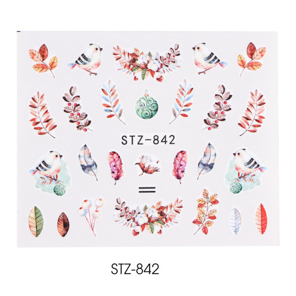 Nail Art Water Transfer Sticker Decals Flower Leaf Summer DIY Manicure Decor STZ-842