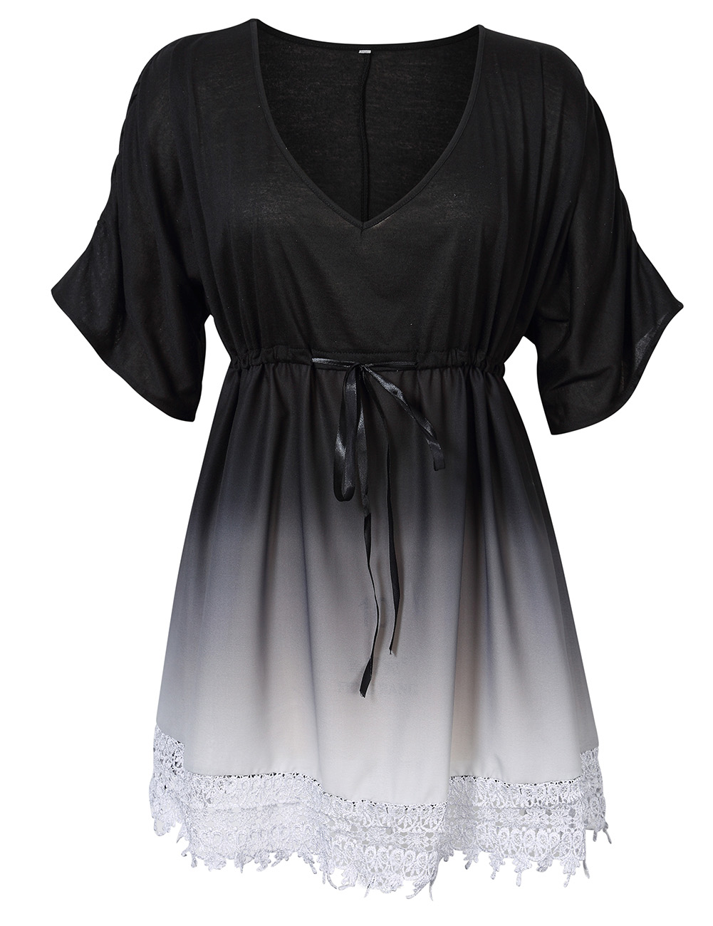 [EU Direct] AMZ PLUS Women Plus Size Casual V-neck Contrast Lace Trim Summer Dress