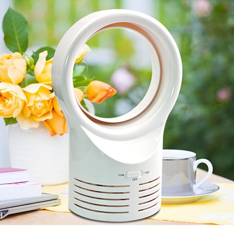 [EU Direct] Mini Portable Desktop Bladeless Fan Cute No Fan-Leaf Cooler Cooling Fan for Office Study White (European regulation)