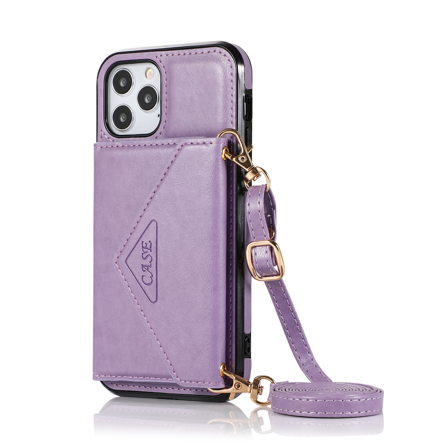 Mobile Phone Case Protective Case Cover For Iphone12/12 Pro Messenger Bag purple