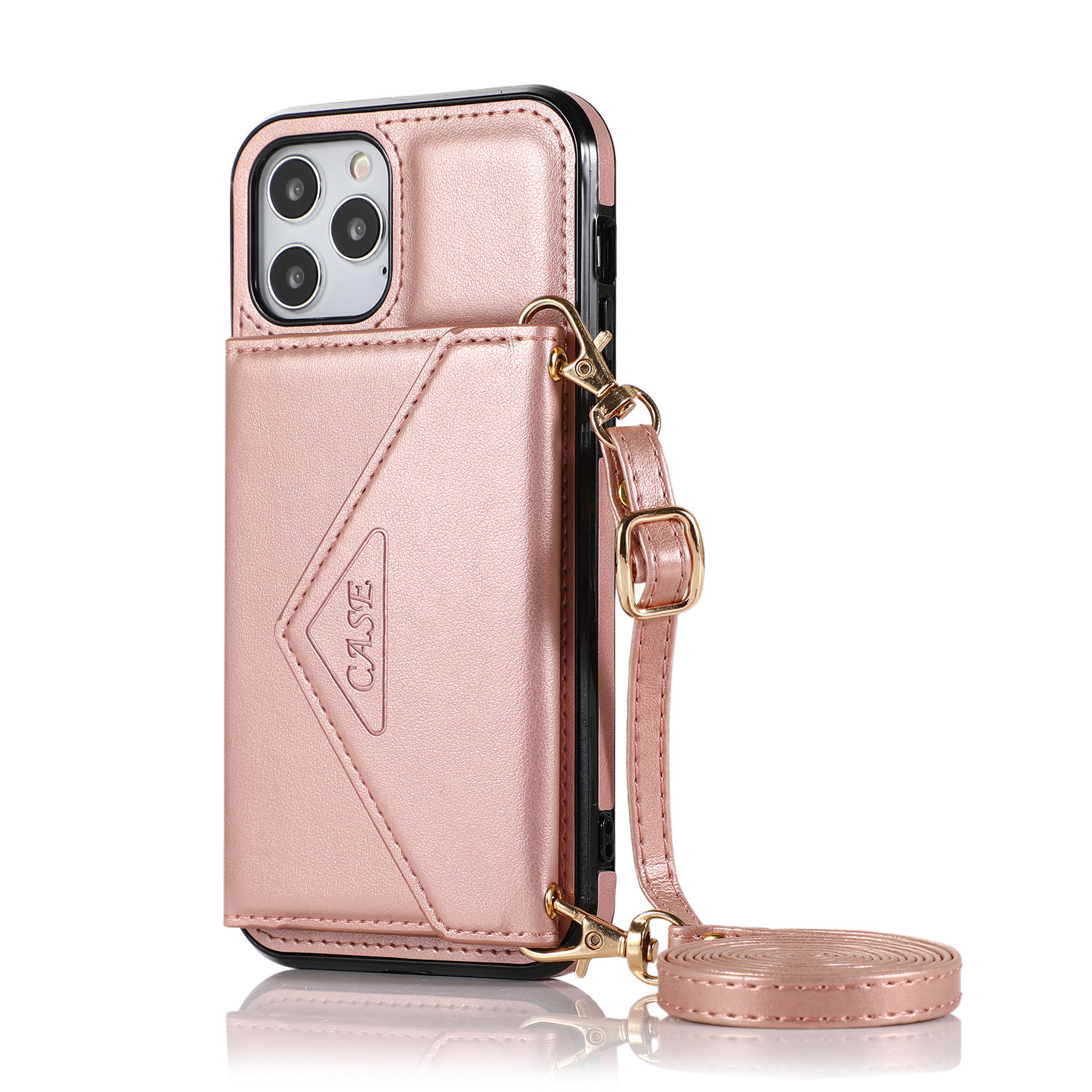 Mobile Phone Case Protective Case Cover For Iphone12/12 Pro Messenger Bag Rose gold