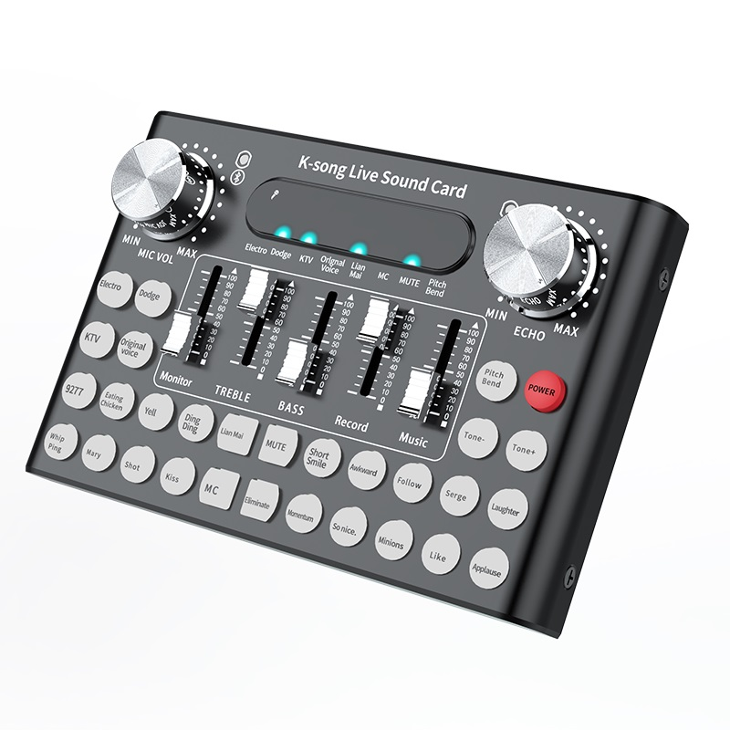 DC5V 1A K-Song Studio Audio Mixer Microphone Webcast Entertainment Streamer Live Sound Card for Phone Computer PC black