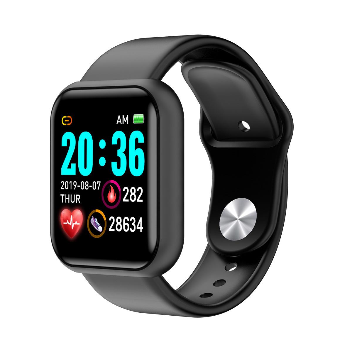 D20 Smart Bracelet IP67 Waterproof TPU Strap Step Count Blood Pressure Heart Rate Monitoring Watch black