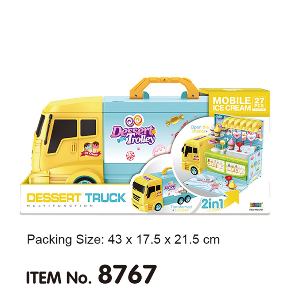 2 in 1 Realistic Truck Makeup Ambulance Ice Cream Truck Deformation Vehicle Gifts for Kids
