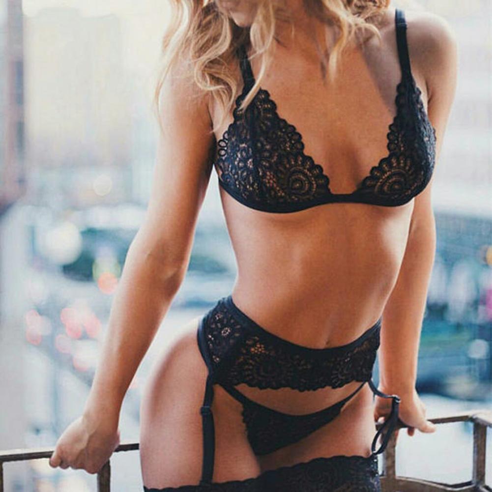 3 Pcs/set  Women's  Underwear Suit  Sexy  Lace  Erotic  Bra + Underpants + Garters black_XL