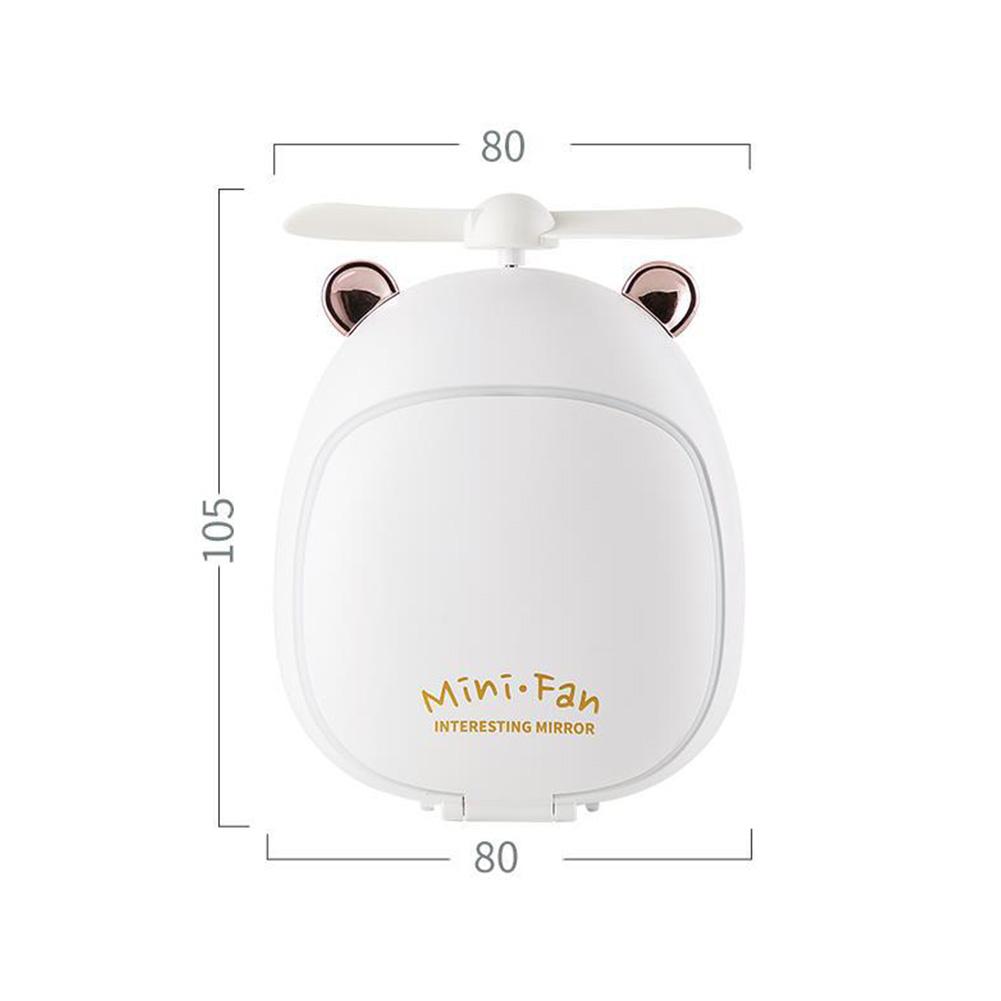 Cartoon Bear Beauty Makeup Mirror Lamp Fan Handheld Portable USB Rechargeable Small Fan Bear white_10.5 * 3.5 * 8cm