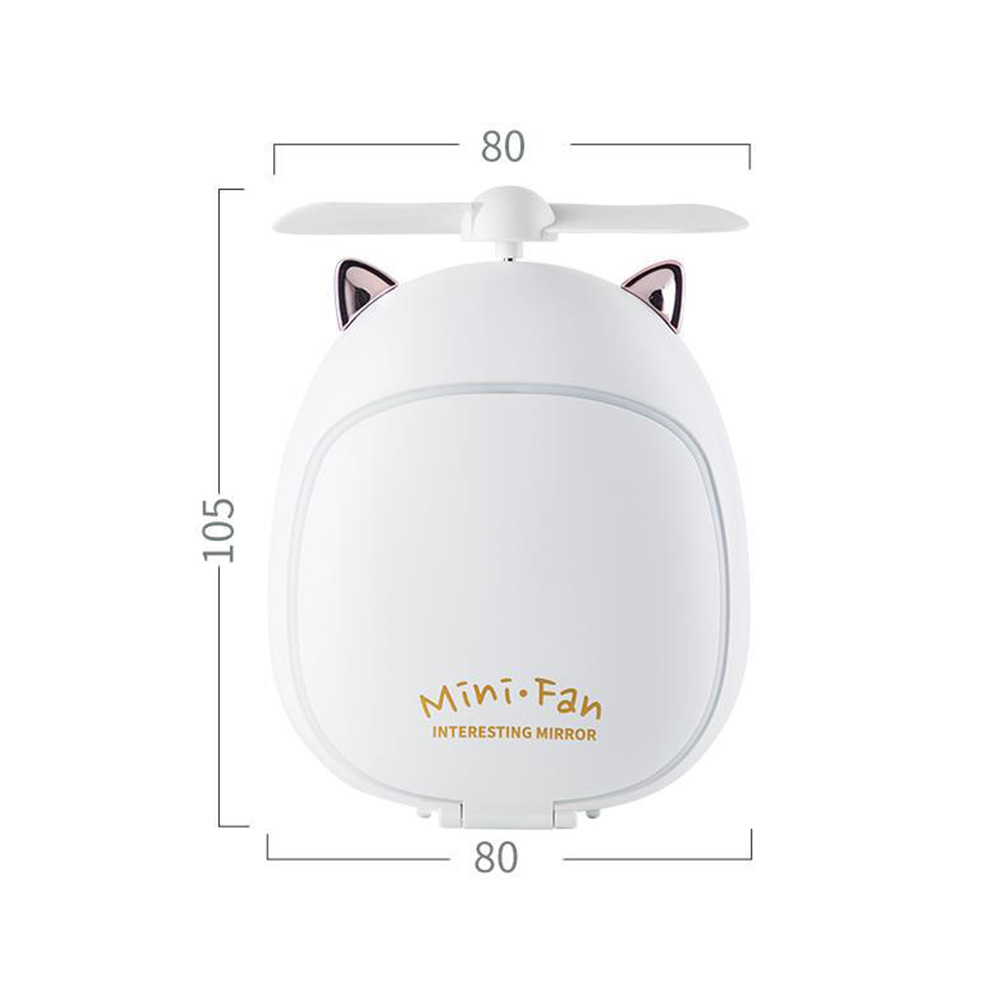 Cartoon Bear Beauty Makeup Mirror Lamp Fan Handheld Portable USB Rechargeable Small Fan Kitten white_10.5 * 3.5 * 8cm