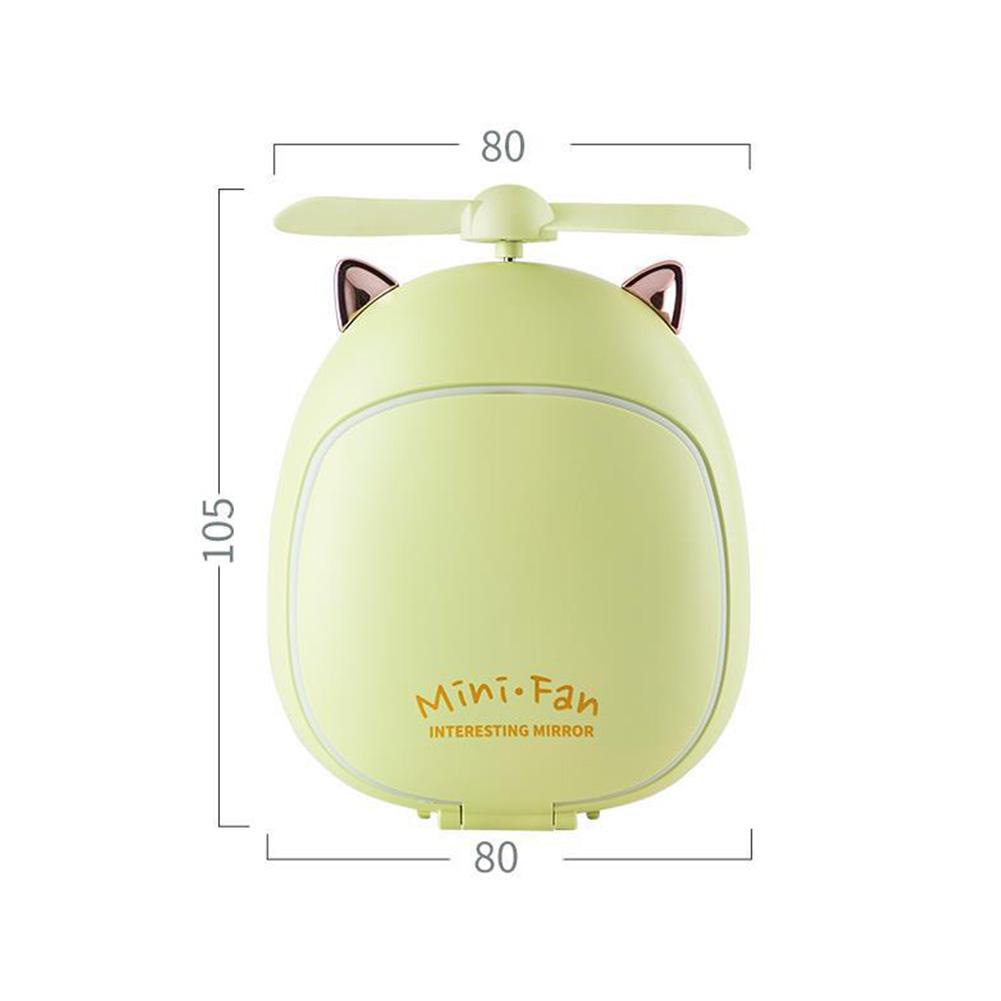 Cartoon Bear Beauty Makeup Mirror Lamp Fan Handheld Portable USB Rechargeable Small Fan Kitten green_10.5 * 3.5 * 8cm
