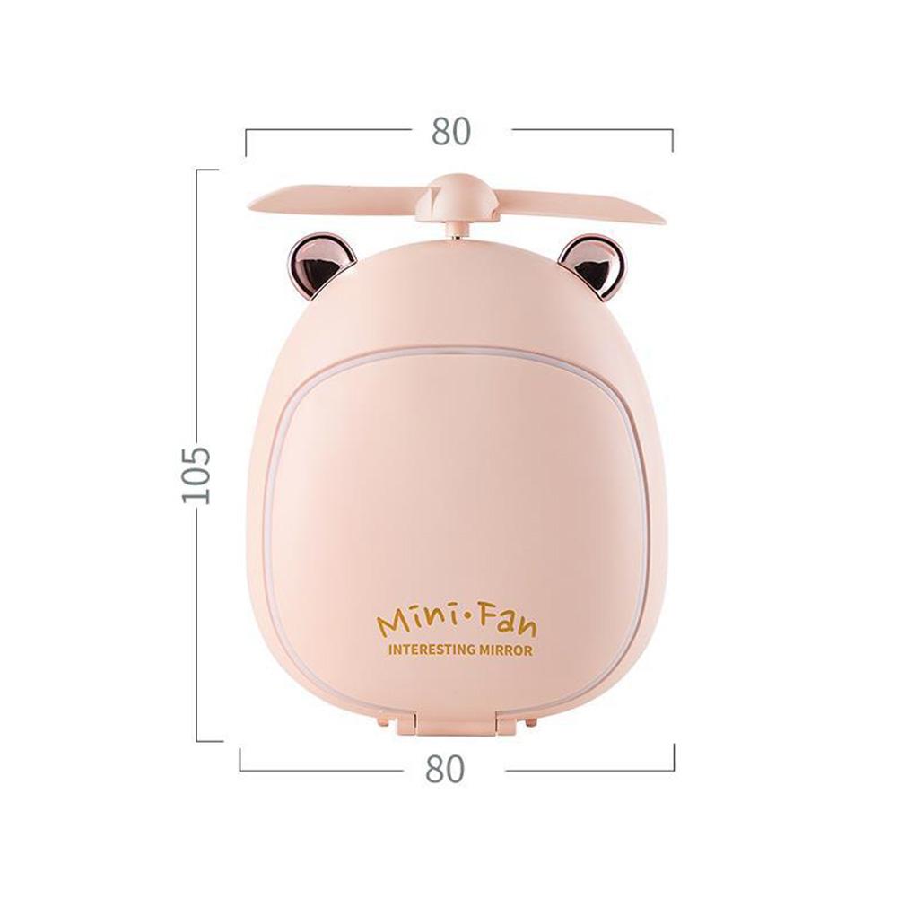 Cartoon Bear Beauty Makeup Mirror Lamp Fan Handheld Portable USB Rechargeable Small Fan Bear pink_10.5 * 3.5 * 8cm