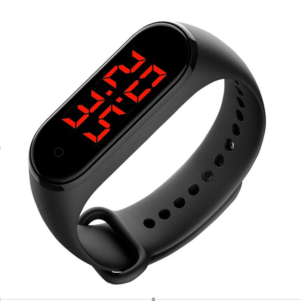 Smart Watch Bracelet Time Display Body Temperature Measure LED Screen Touch-Key Accurate Measurement black