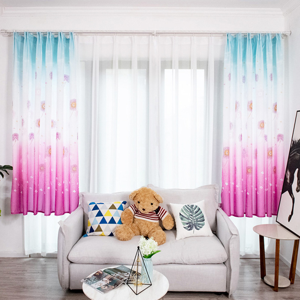 Hydrangea Printing Shading Decorative Curtain for Bedroom Living Room Short Window Drapes red_1 * 2 meters high