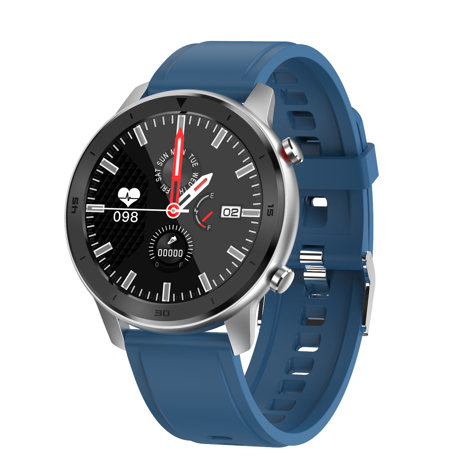 DT78 Smart Watch Sports Smartwatch Fitness Bracelet B1.3inch Full Touch Screen 230mAh Battery IP68 Waterproof Health Monitor Blue silicone band