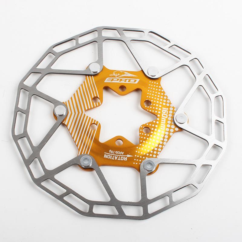 Bike Disc Brake Rotors Ultralight Floating Disc Pads 160mm 80g Bicycle Disc Brake Rotors Parts Gold 160MM boxed