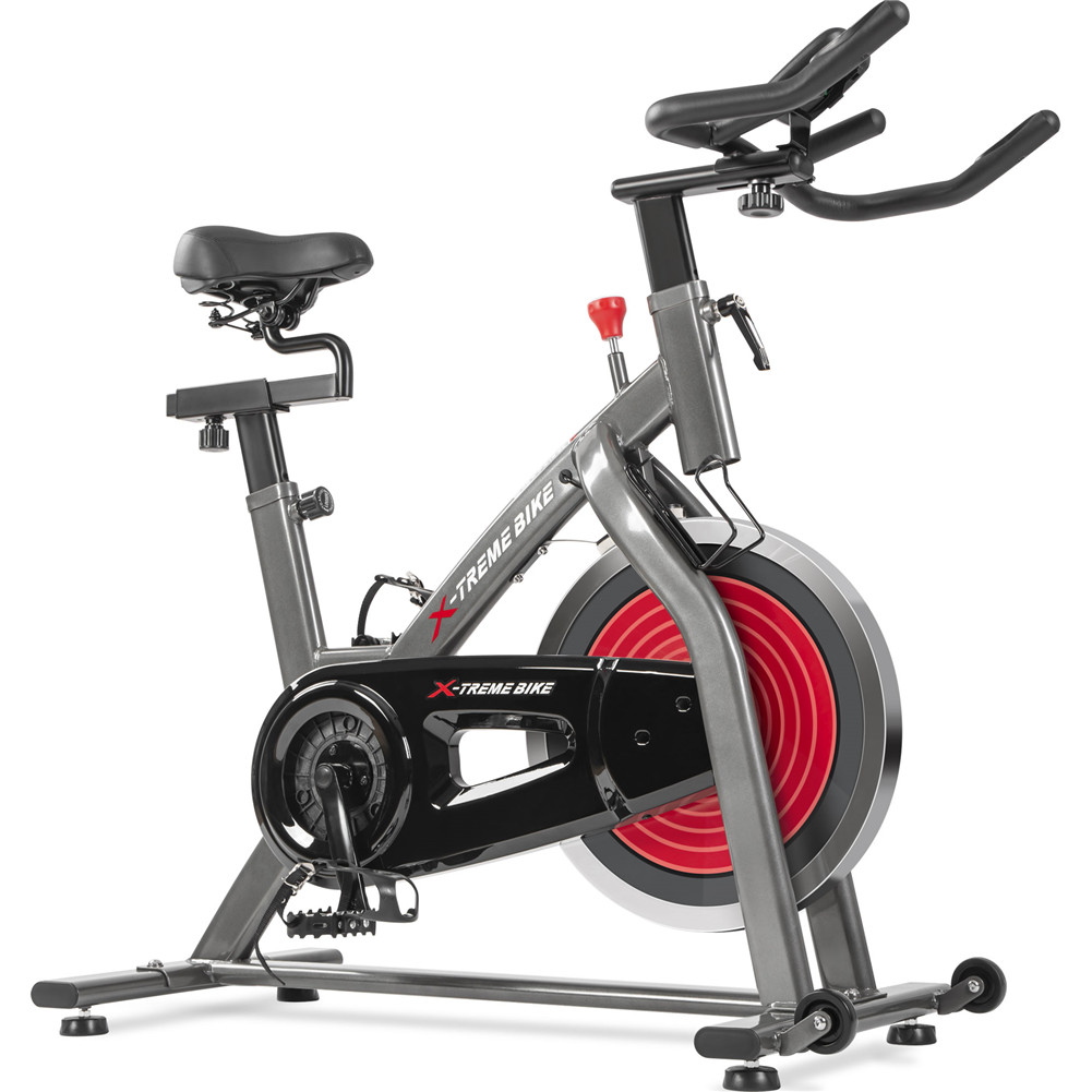 [US Direct] Indoor  Exercise  Bicycle With Four-way Adjustable Handlebar Lcd Display Pulse Sensor For Home Fitness Black red
