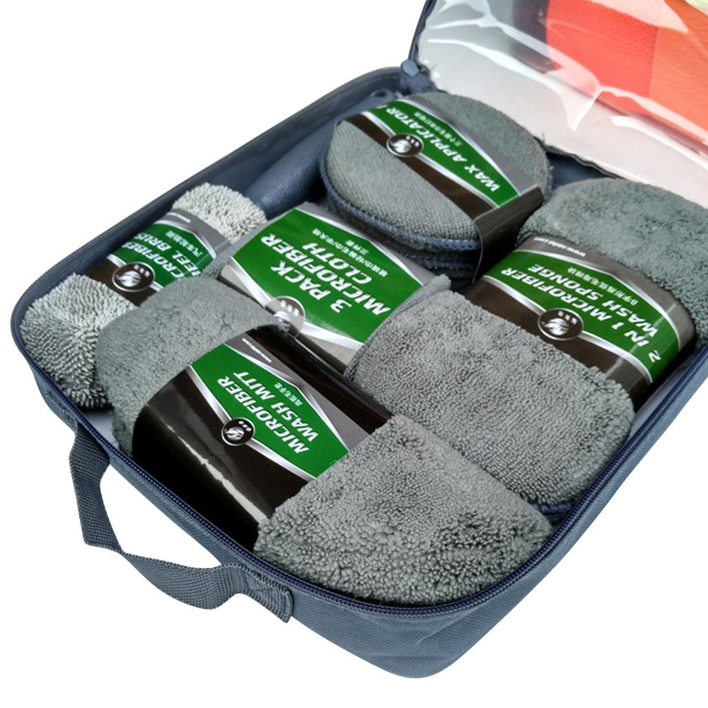 9pcs Car Cleaning Kit Car Wash Supplies Microfiber Towel Detailing Car Wheel Brush Waxing Sponge gray_28 * 33 * 6CM