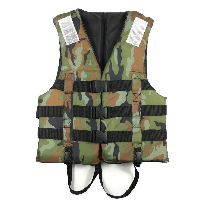 Camouflage Life Jacket Lightweight Adult Foam Swimming Life Jacket Adjustable Foldable Life Jacket Vest Type 1_XL-suitable for 60-80 kg