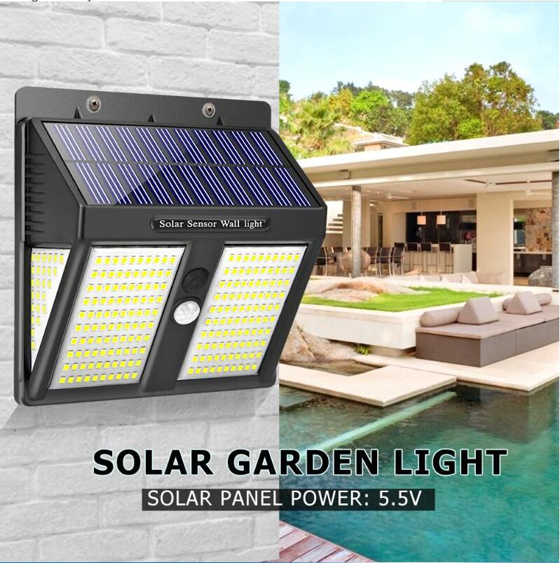 250LEDs Solar Security Lights Motion Sensor Waterproof Light Control Wall Lamp for Outdoor Garden Path Decoration  White light_1PC
