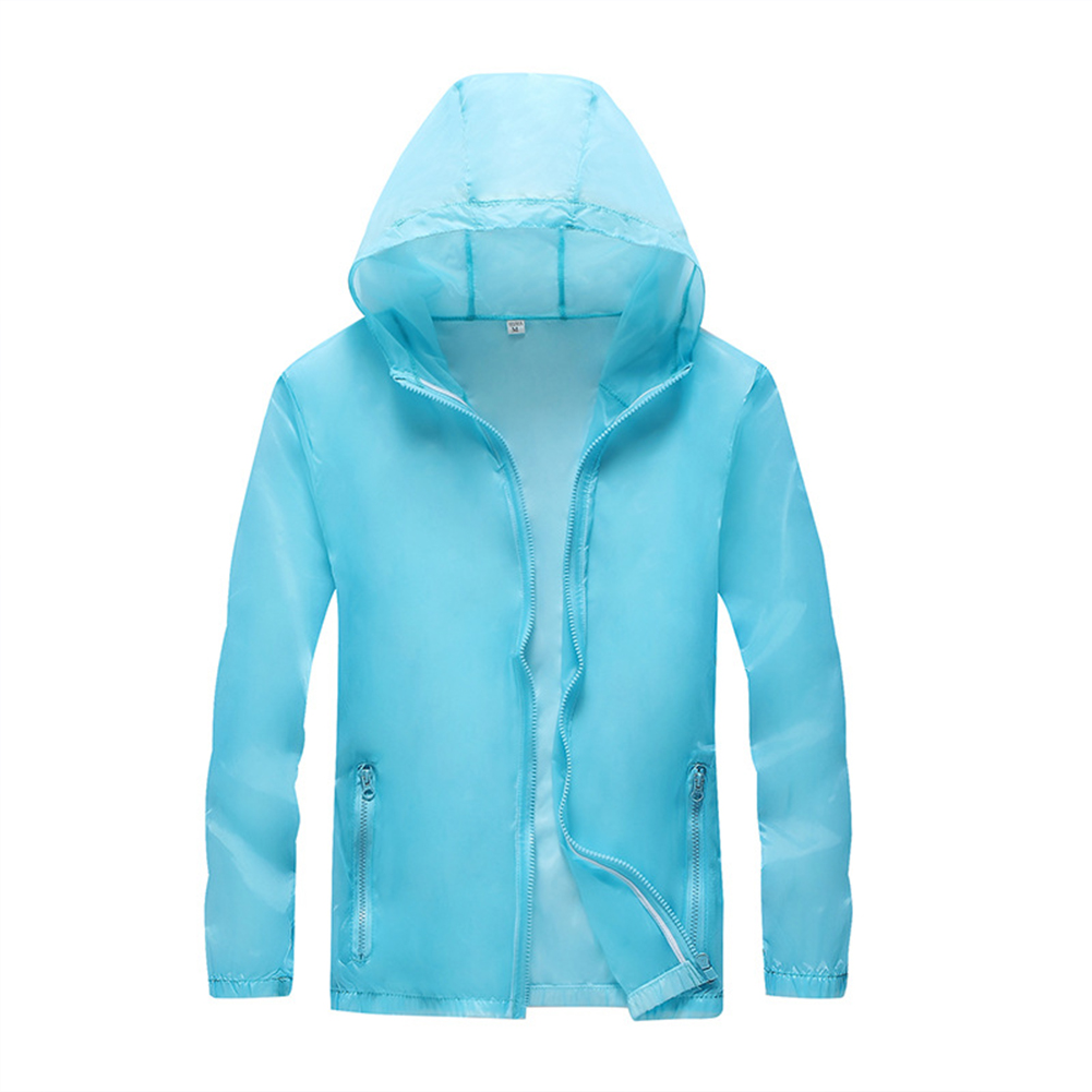 Breathable Solid Color Sunscreen Lovers  Quick Dry Clothes Tops Light blue_M