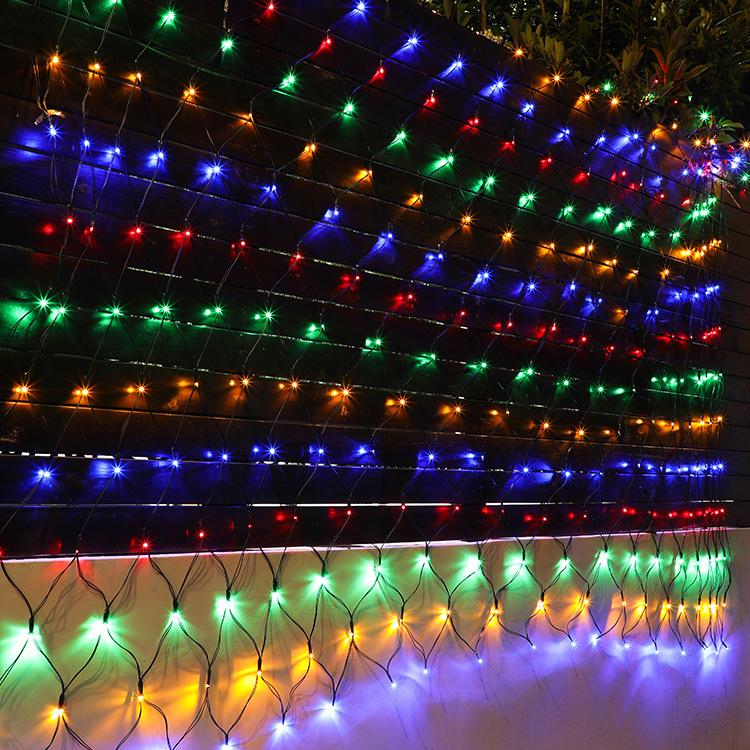 320led 3x2M 204 Solar Net Mesh String Light Outdoor Garden Patio Curtain Light color light