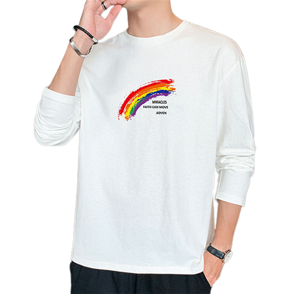 Men's T-shirt Autumn Printing Loose Long-sleeve Bottoming Shirt White _L