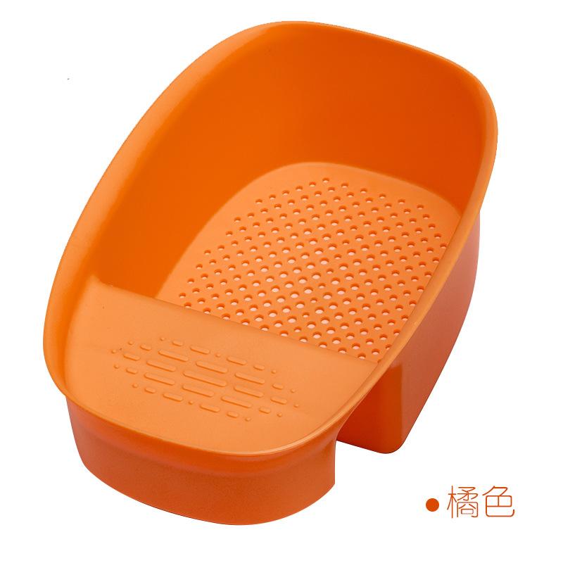 Kitchen Sink Drain  Strainer Fruit Vegetable Drainer Hollow Designed Storage Basket Orange