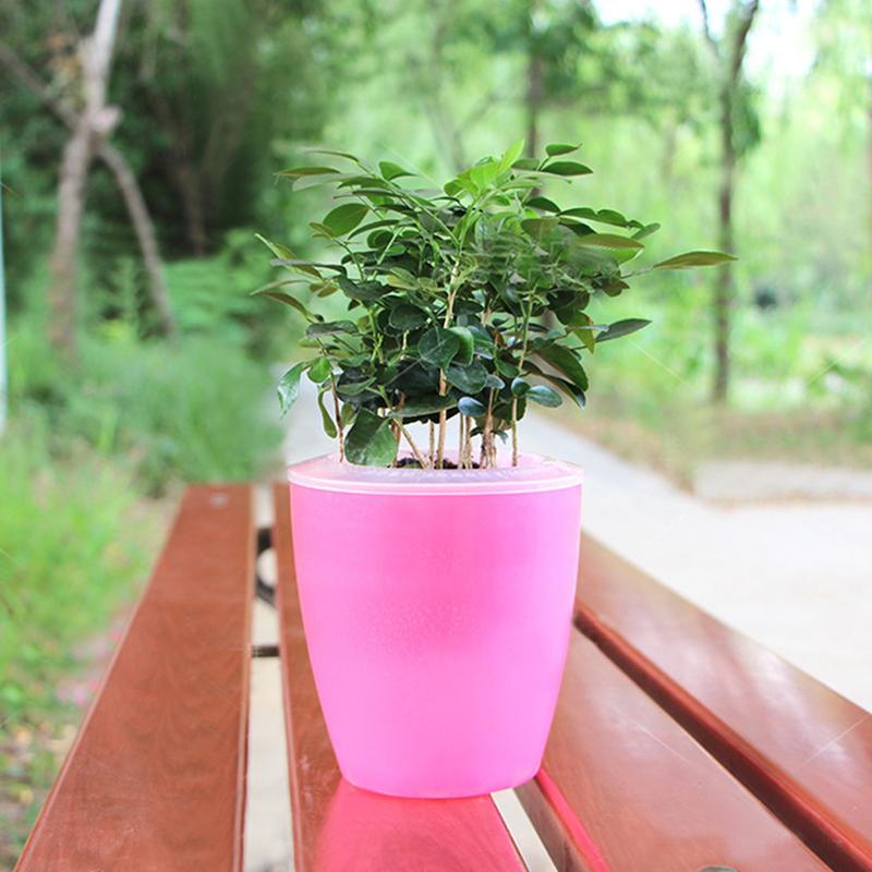 Colorful Self Watering Round Planter Flower Pot Home Garden Decor Professional Green Plant Vase Translucent pink_Big (M7)