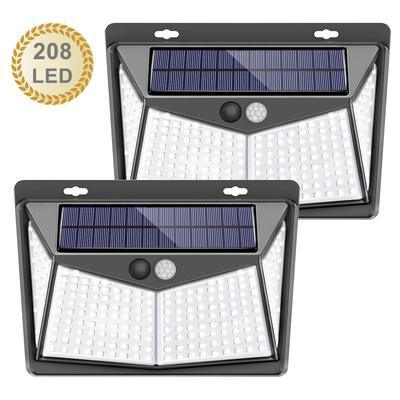 208LEDs Solar Powered Wall Light Motion Sensor Outdoor Garden Security Wall Lights