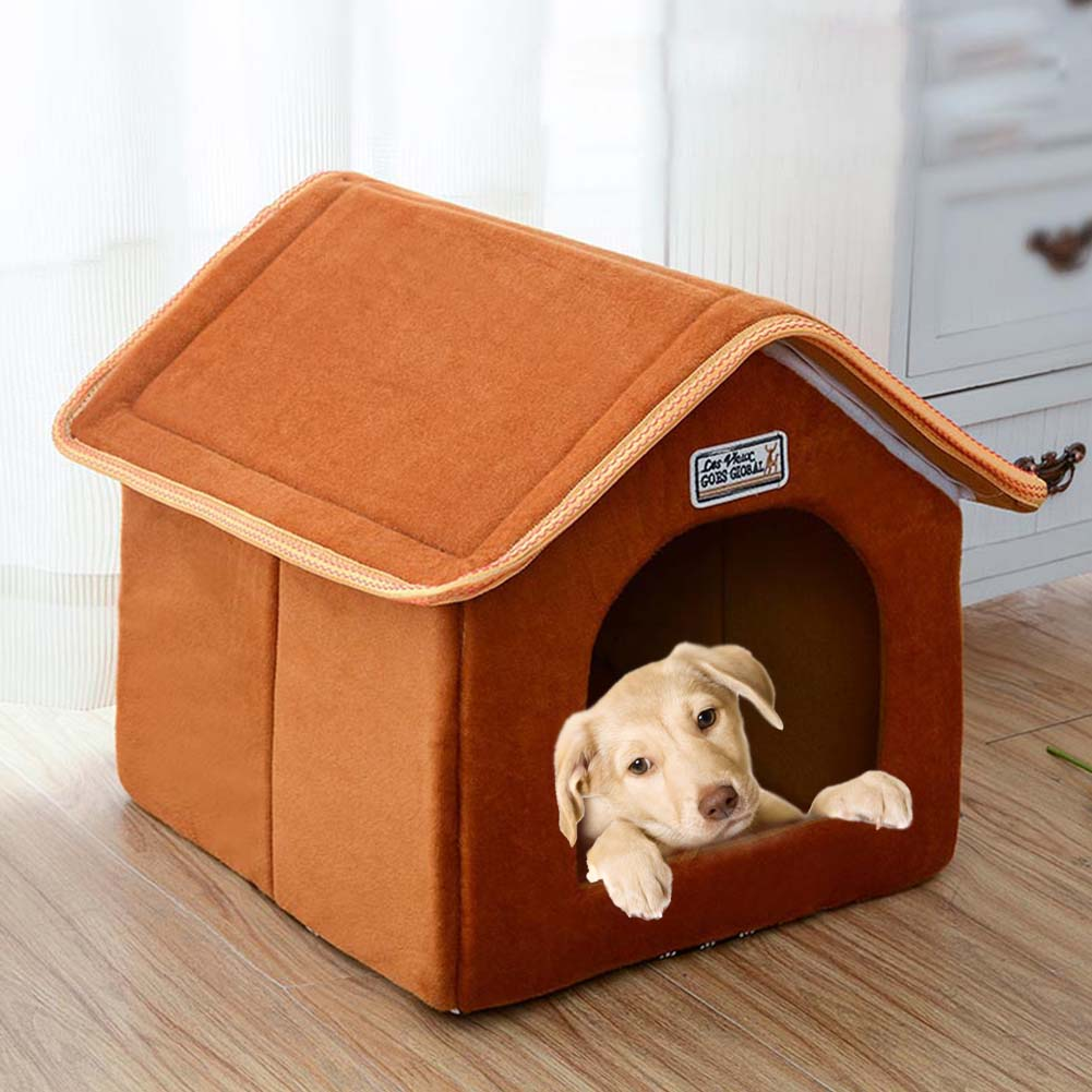 Foldable House Shape Pet Nest with Mat for Small Dog Teddy Poodle Puppy Cats brown_S