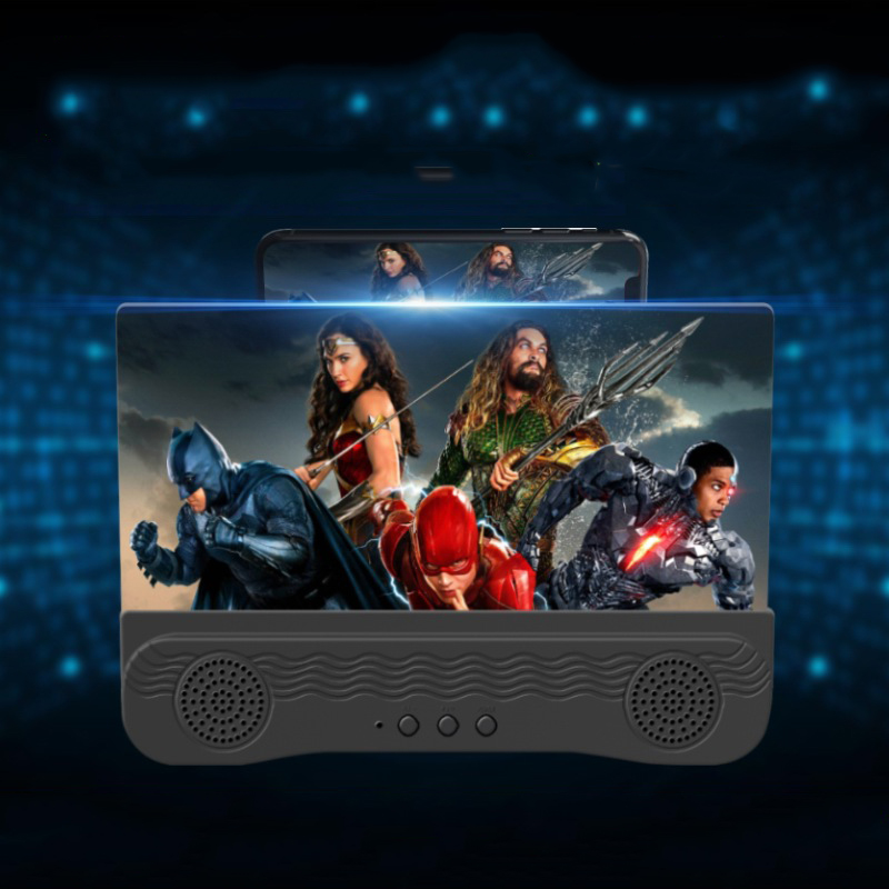 Screen  Amplifier 6D High-definition Dual Speakers Bluetooth-compatible Audio Mobile Phone Screen Amplifier Black