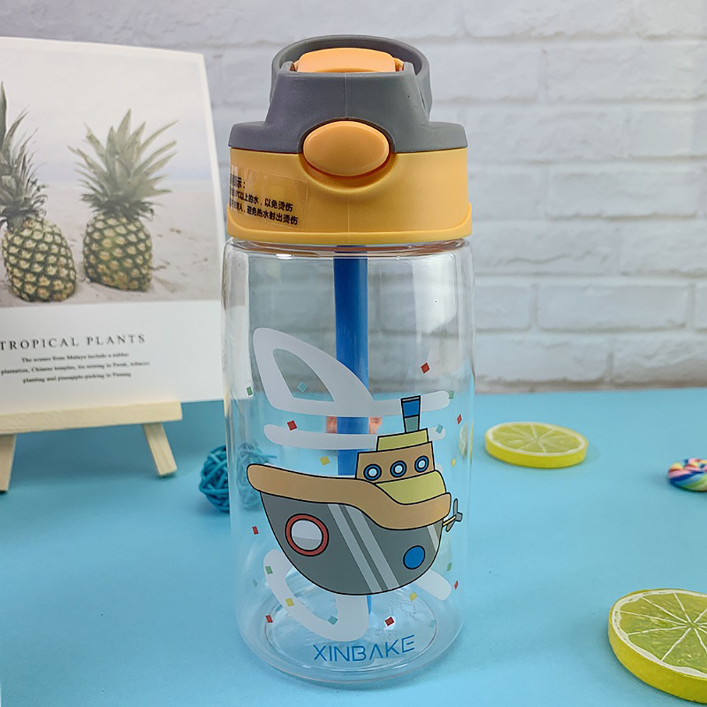 Children's Sippy Cups Pot Portable Sports Cups Bouncing Plastic Baby Duckbill Water Bottle Yellow cruise ship