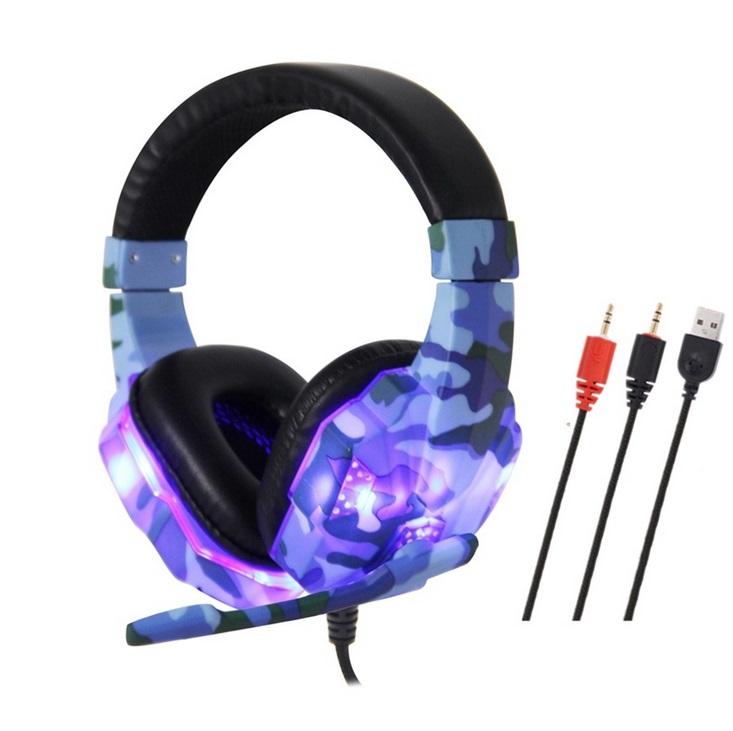 Headset Wired Earphone Gaming Headset USB Luminous Gamer Stereo Headphone Folding Headset blue