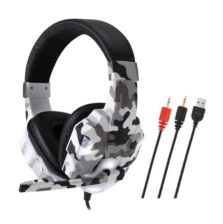 Headset Wired Earphone Gaming Headset USB Luminous Gamer Stereo Headphone Folding Headset gray