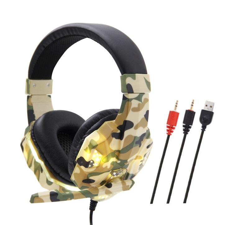 Headset Wired Earphone Gaming Headset USB Luminous Gamer Stereo Headphone Folding Headset yellow