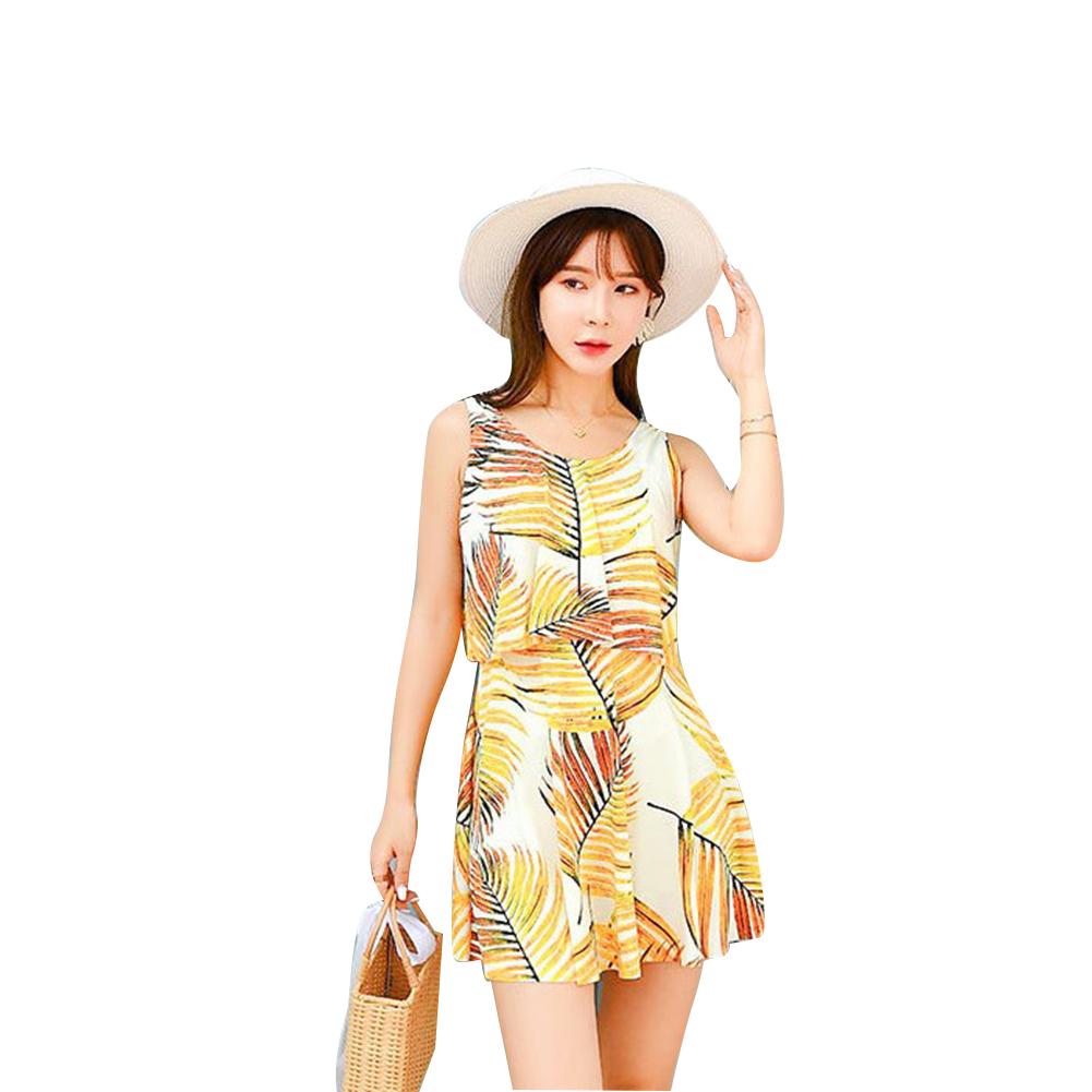 Women  One-piece  Swimsuit Halter Leaf Printing Sexy Retro Slim Swimming Suit yellow_L