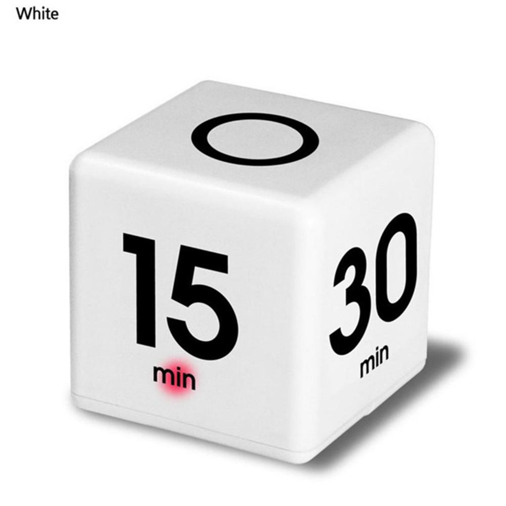 Smart Cube Shaped Yoga Timer Rest Reminder Kitchen Alarm Clock Countdown Timer white