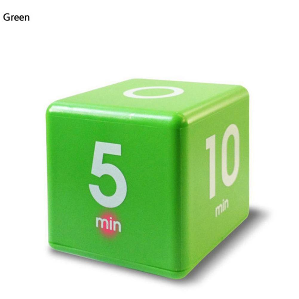 Smart Cube Shaped Yoga Timer Rest Reminder Kitchen Alarm Clock Countdown Timer green