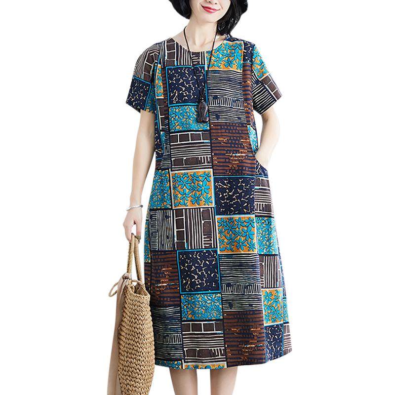 Summer Loose Round Neck Short Sleeve Printed Waist Mid-length Dress For Women blue_XL