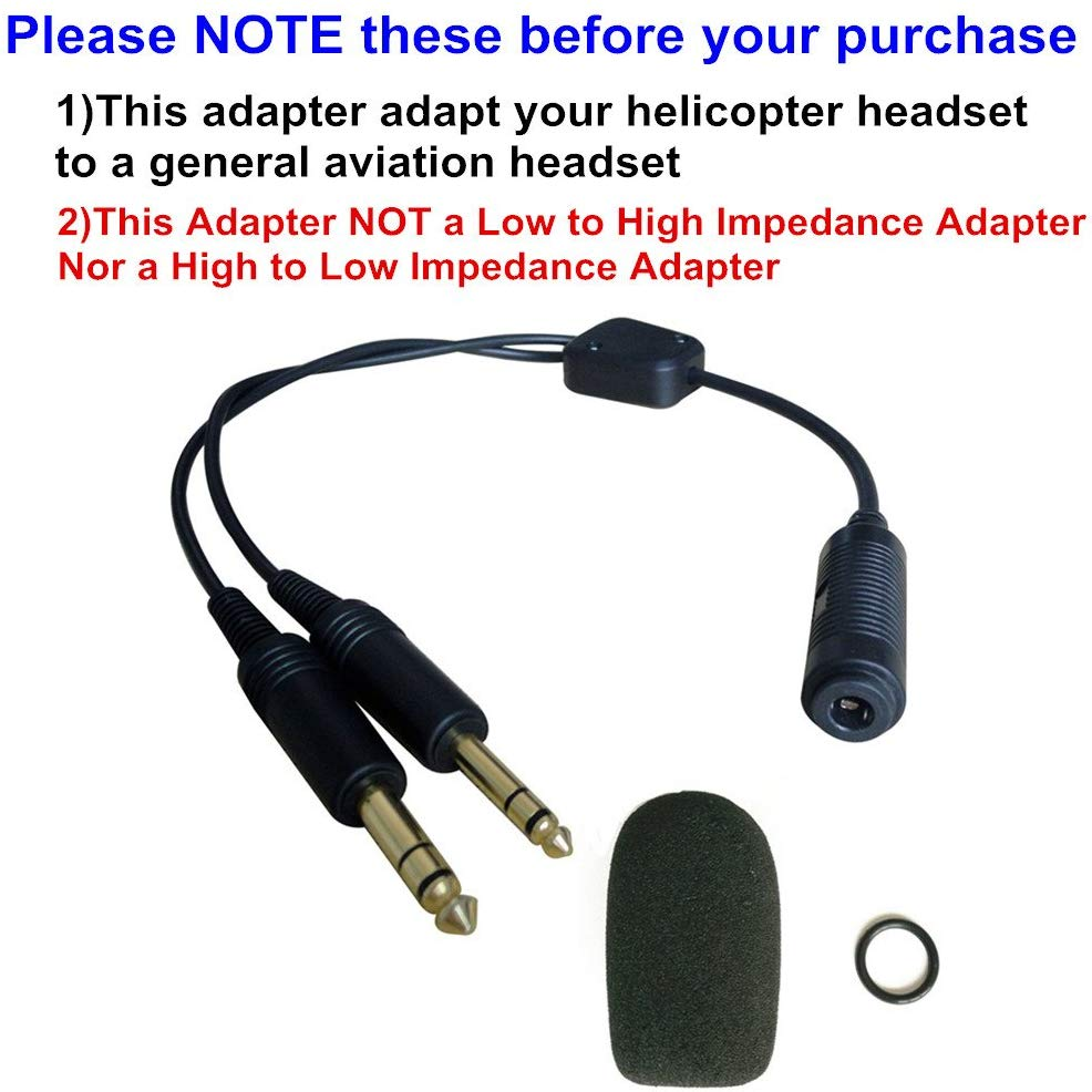 Helicopter to General Aviation Headset Adapter Adapt Helicopter Headset to General Aviation Free with Super High Density Sponge O-ring Suit for David Clark Avcomm ASA black